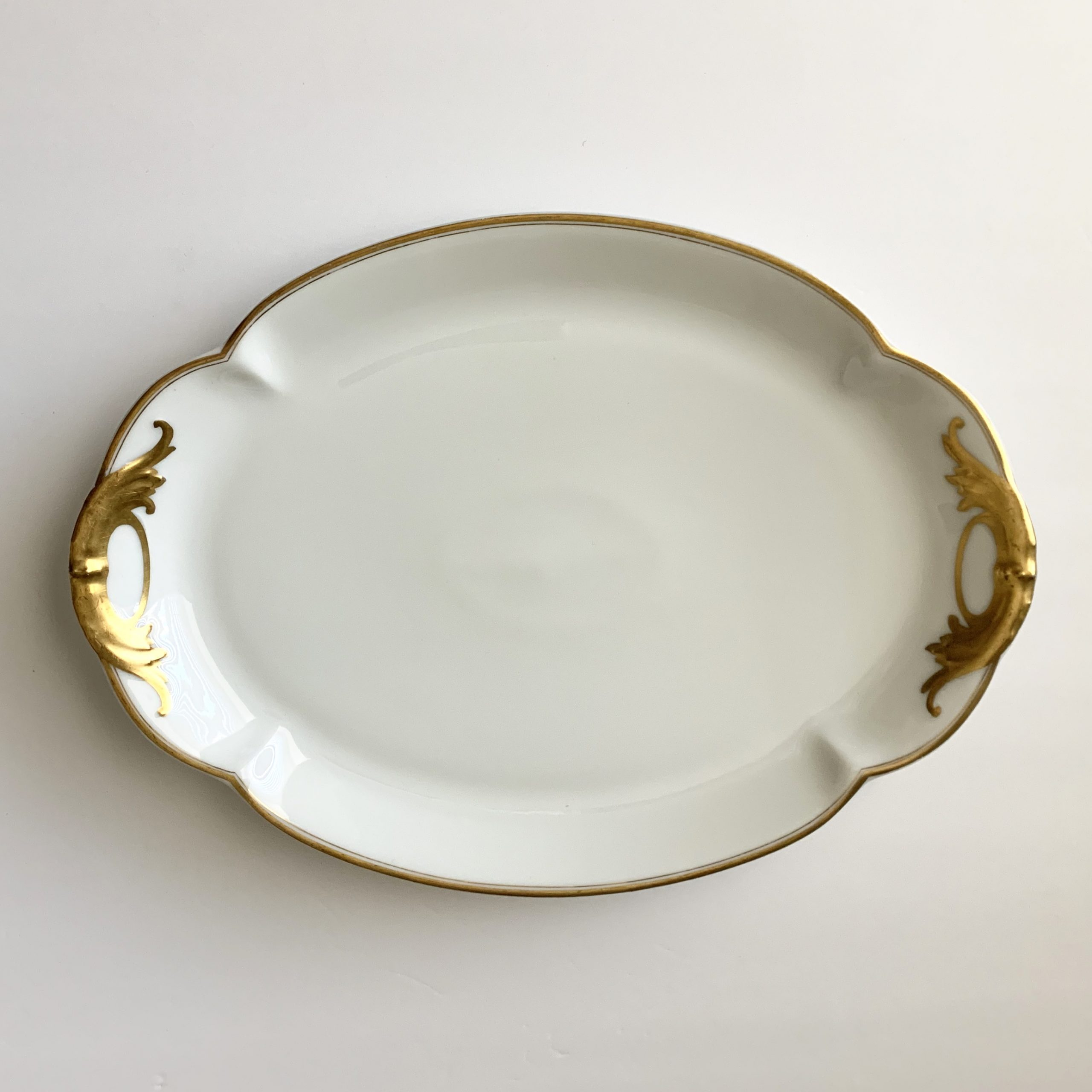White platter with gold scrolls #2