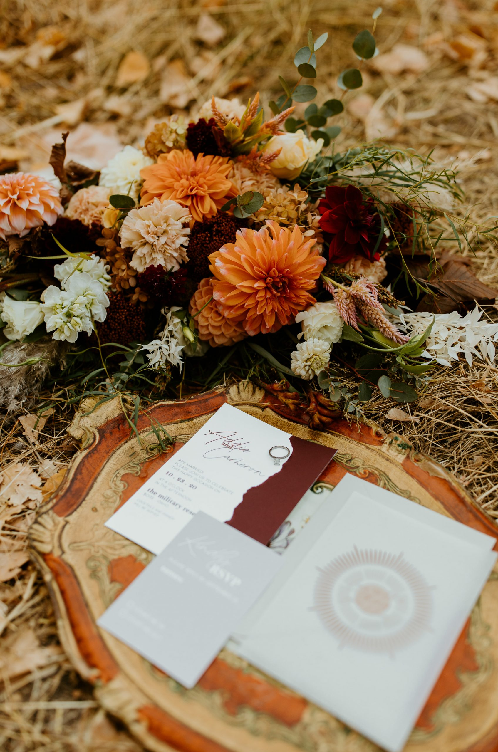 Our Florentine tray creates a beautiful backdrop for a display of wedding day keepsakes.