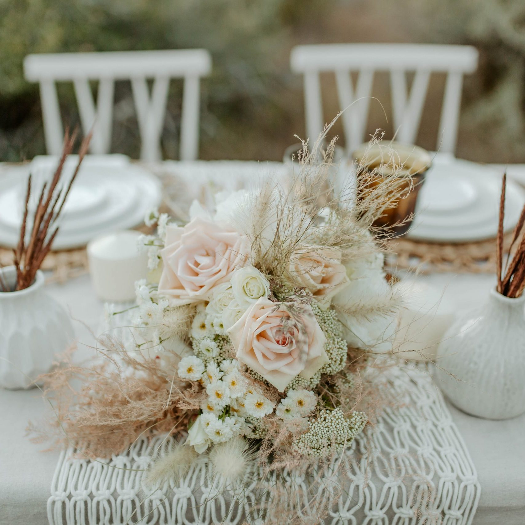 Natural textures, vintage goblets, and modern tableware rentals in Boise, Idaho.